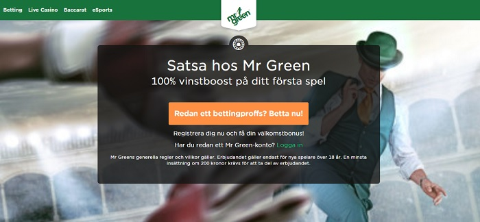 mr green vinstboost bonus