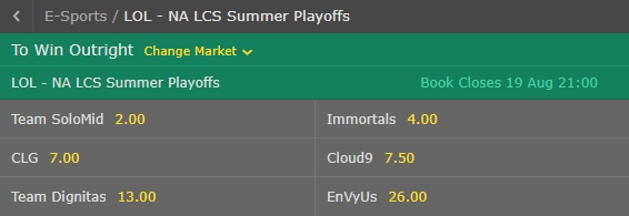 na lcs summer playoffs 2017 odds